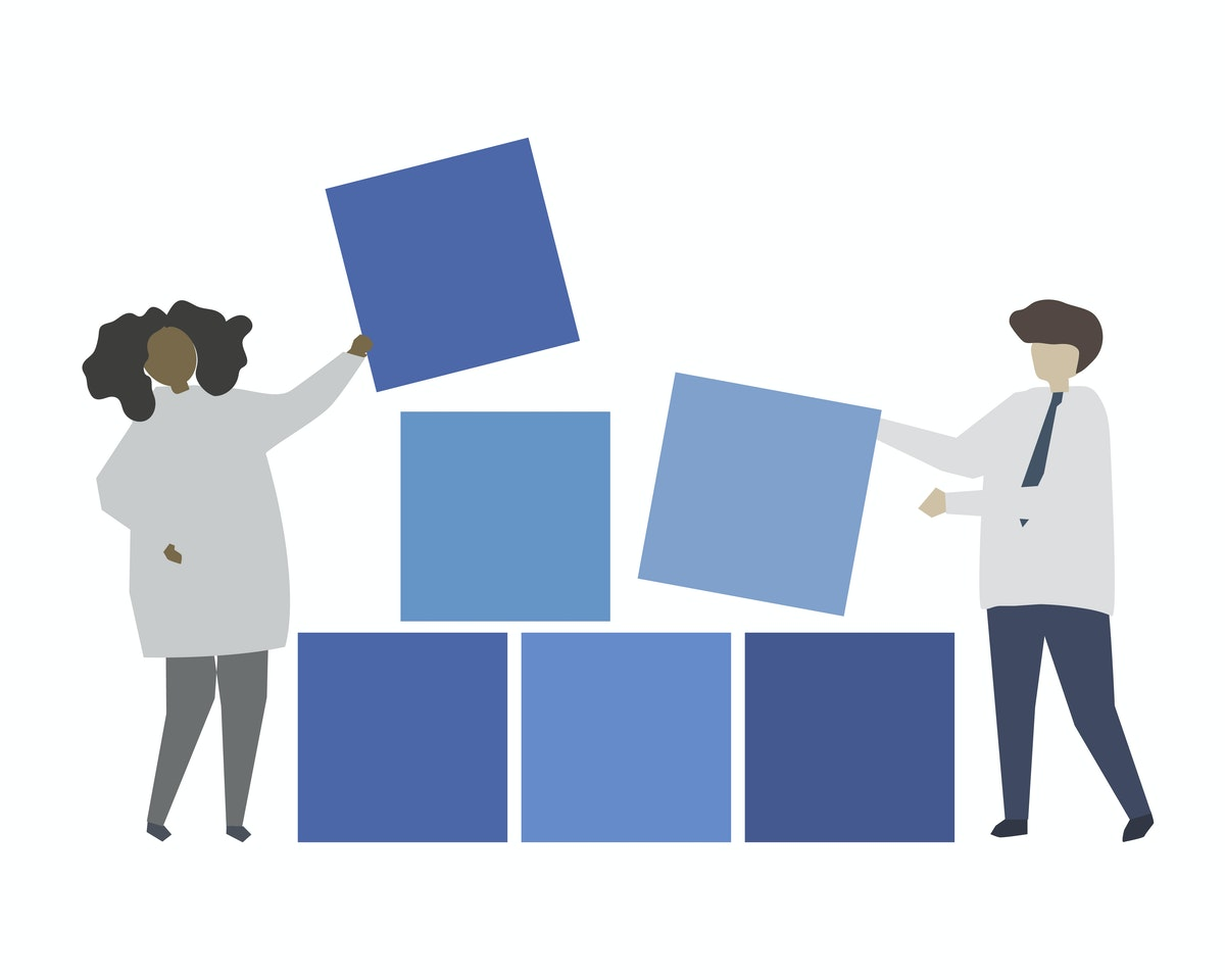 illustration of 2 people stacking squares.