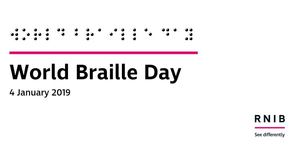 the words 'World Braille Day' also in braille