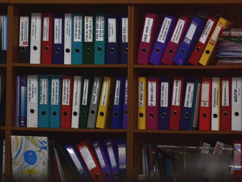 folders arranged on shelves