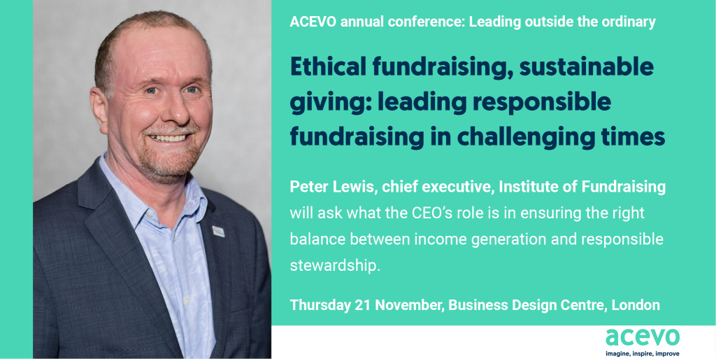 Photo of Peter Lewis and the name of the talk he will be doing at the conference: Ethical fundraising, sustainable giving