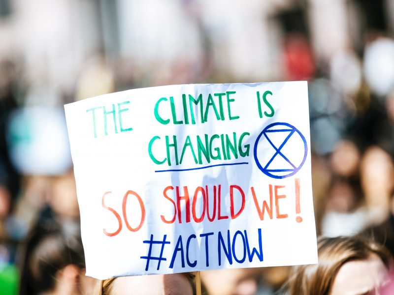 person holding a sign that says the climate is changing so should we