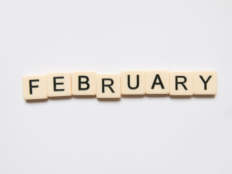 February written using wooden blocks