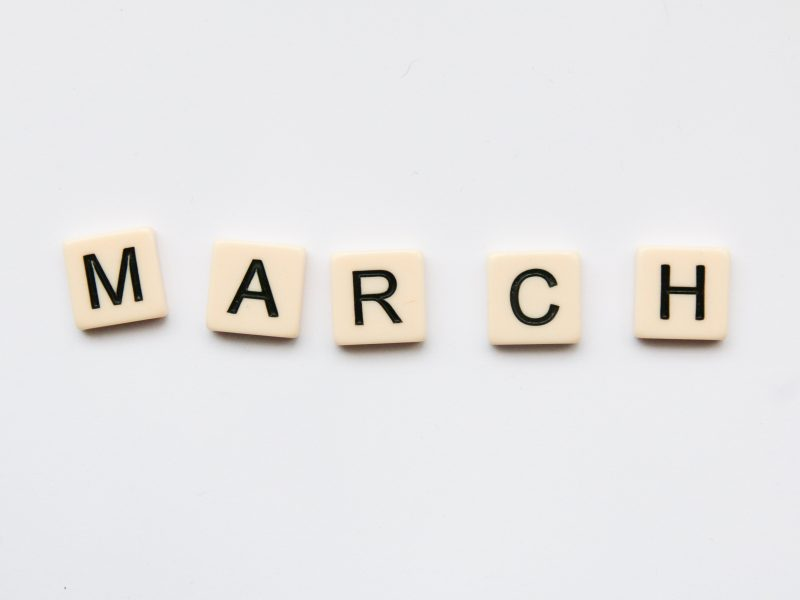 March, written using wood blocks
