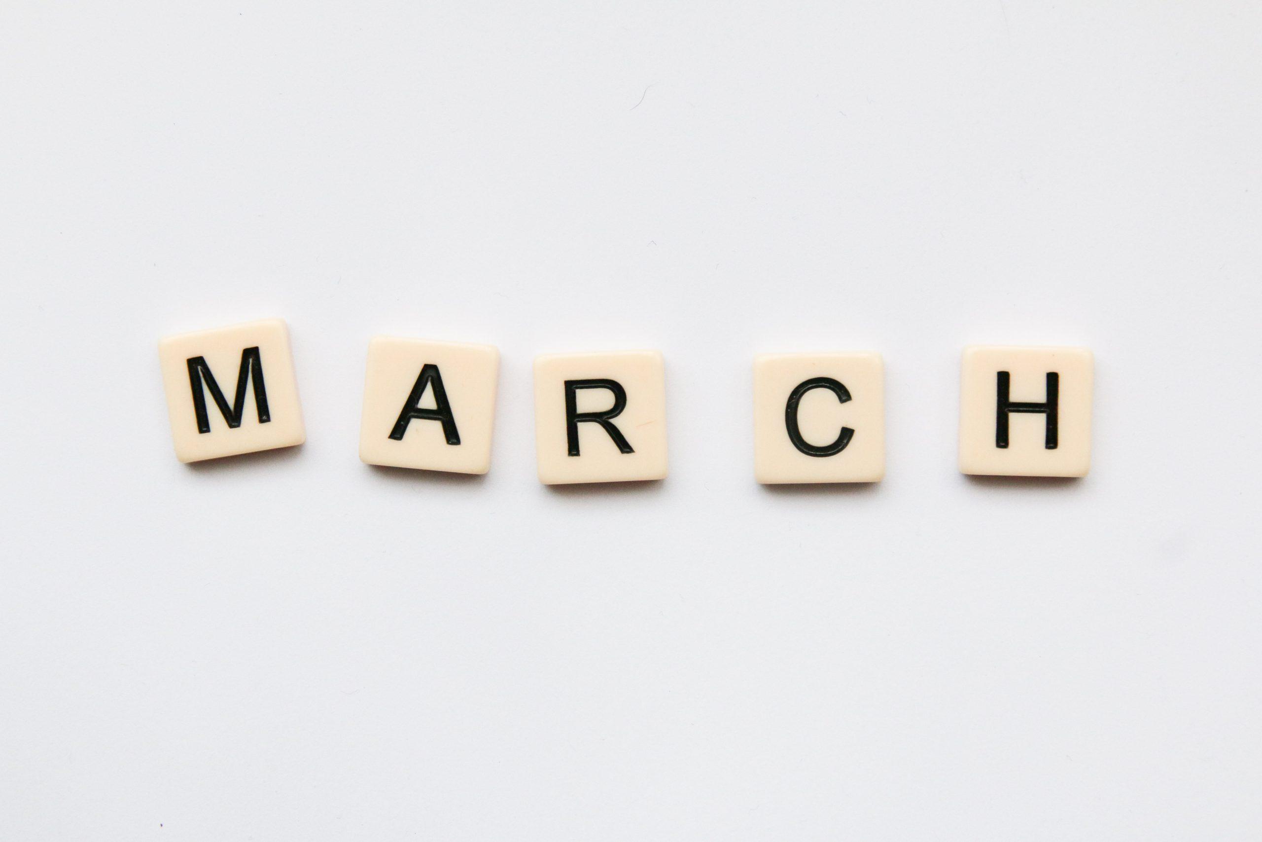 March, written using wood blocks