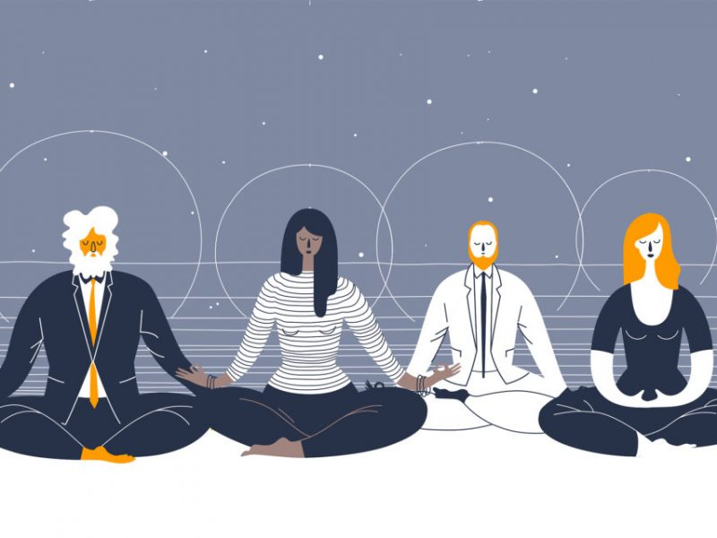 illustration of 4 people sitting down on the floor with their legs crossed, they are meditating