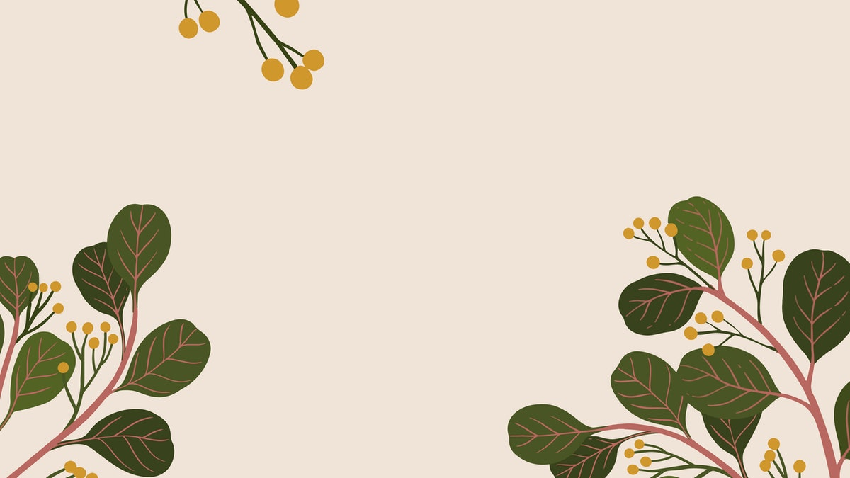 illustration. light pink background. there are two tree branches on each side, with rounded green leaves