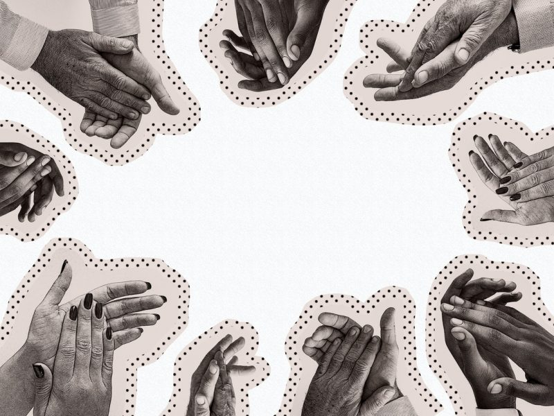 white background. all around the rectangle there are hands that are clapping. the centre of the image is empty