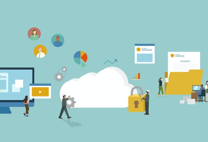 illustration over a blue/green background of several digital icons: laptop, cloud, lock, folder, mobile phone. There are also illustration of people, walking around them. The icons are much larger than the people, to represent us navigating in the digital world