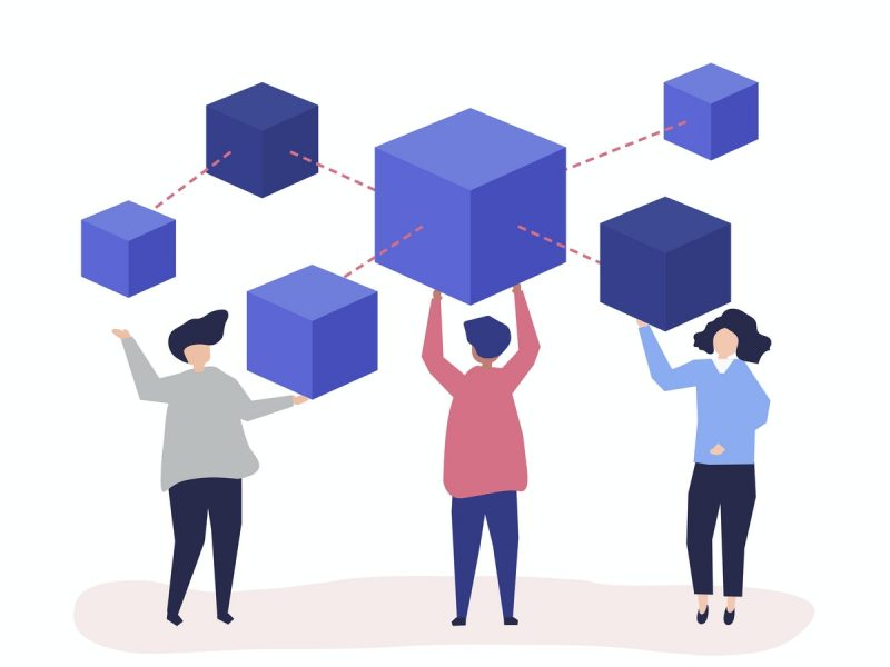 illustration of three people standing and above them there are 6 cubes, each in a different size. the cubes are connected through dotted lines
