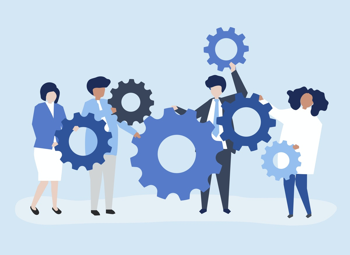 Illustration, light blue background. Four people are holding a series of six cogs, each one in a blue tone. this represents the idea of working together to make things happen.