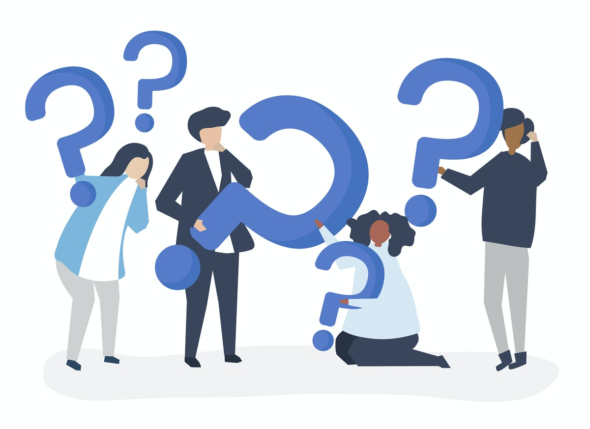 illustration of 4 people holding question marks, there are 5 question marks in total, in different sizes, all in blue.