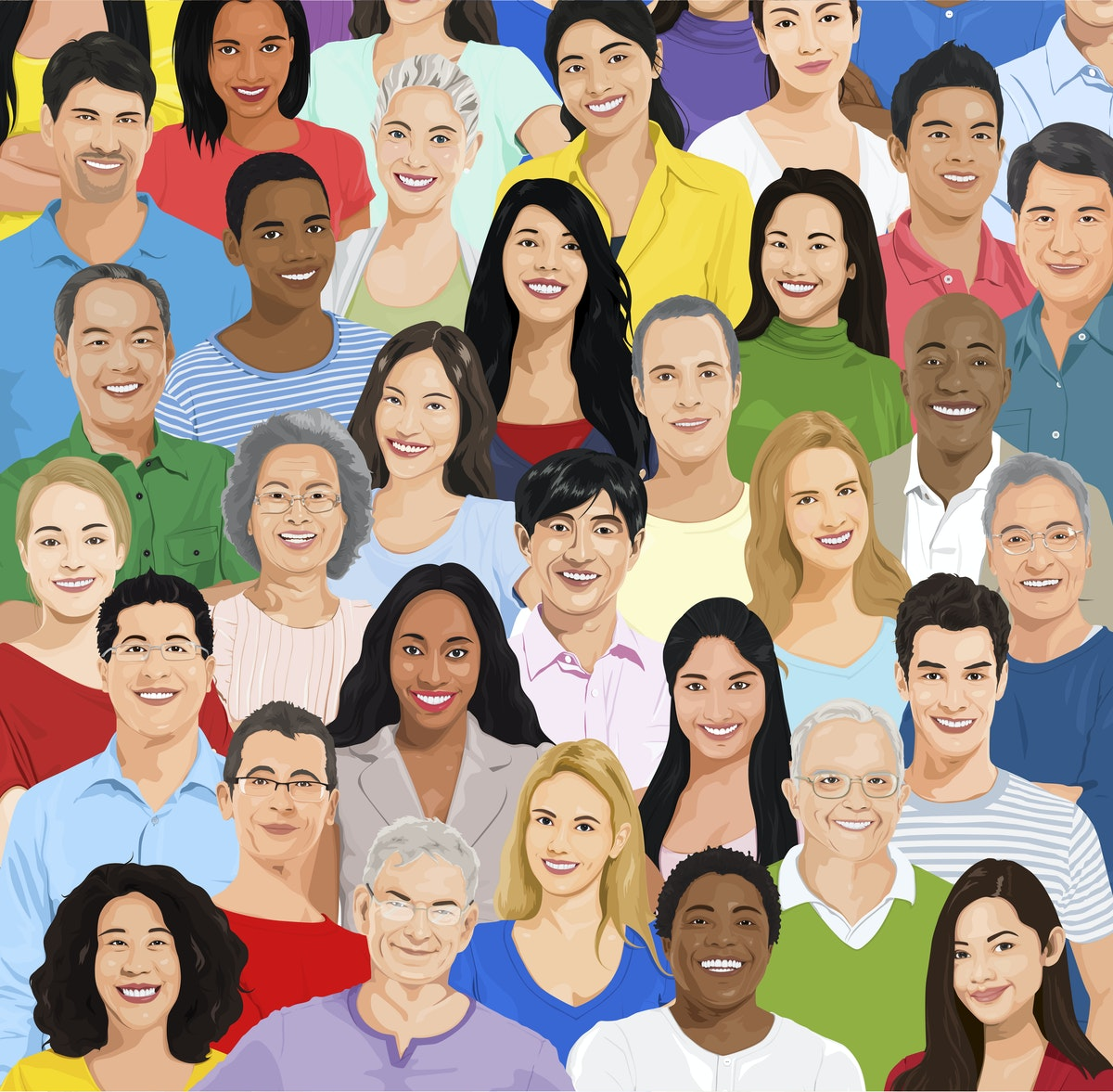 illustration of a group of people, from they shoulders up, there are several layers of people, with different colours, features and clothes