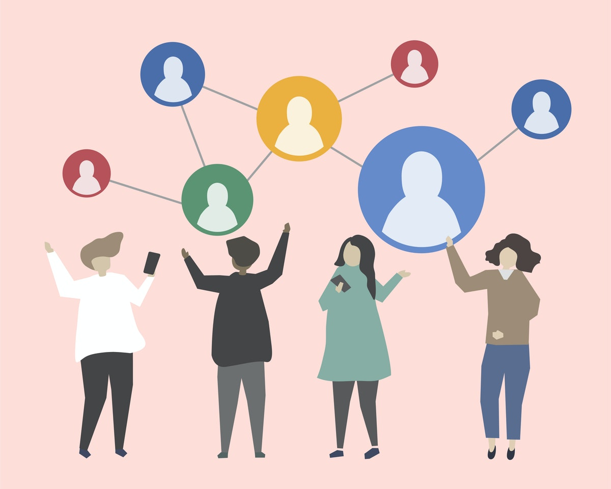 Illustration with a light pink background. 4 people standing up, and above them there are circles with generic profiles of a person within. The circles are 'floating' above, and connected to each other with dotted lines. The illustration represents a network of people