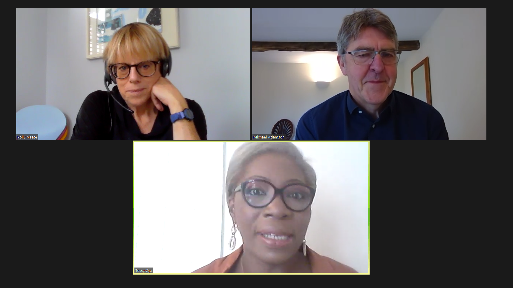 screenshot of Tessy Ojo, Polly Neate and Michael Adamson in a Zoom meeting
