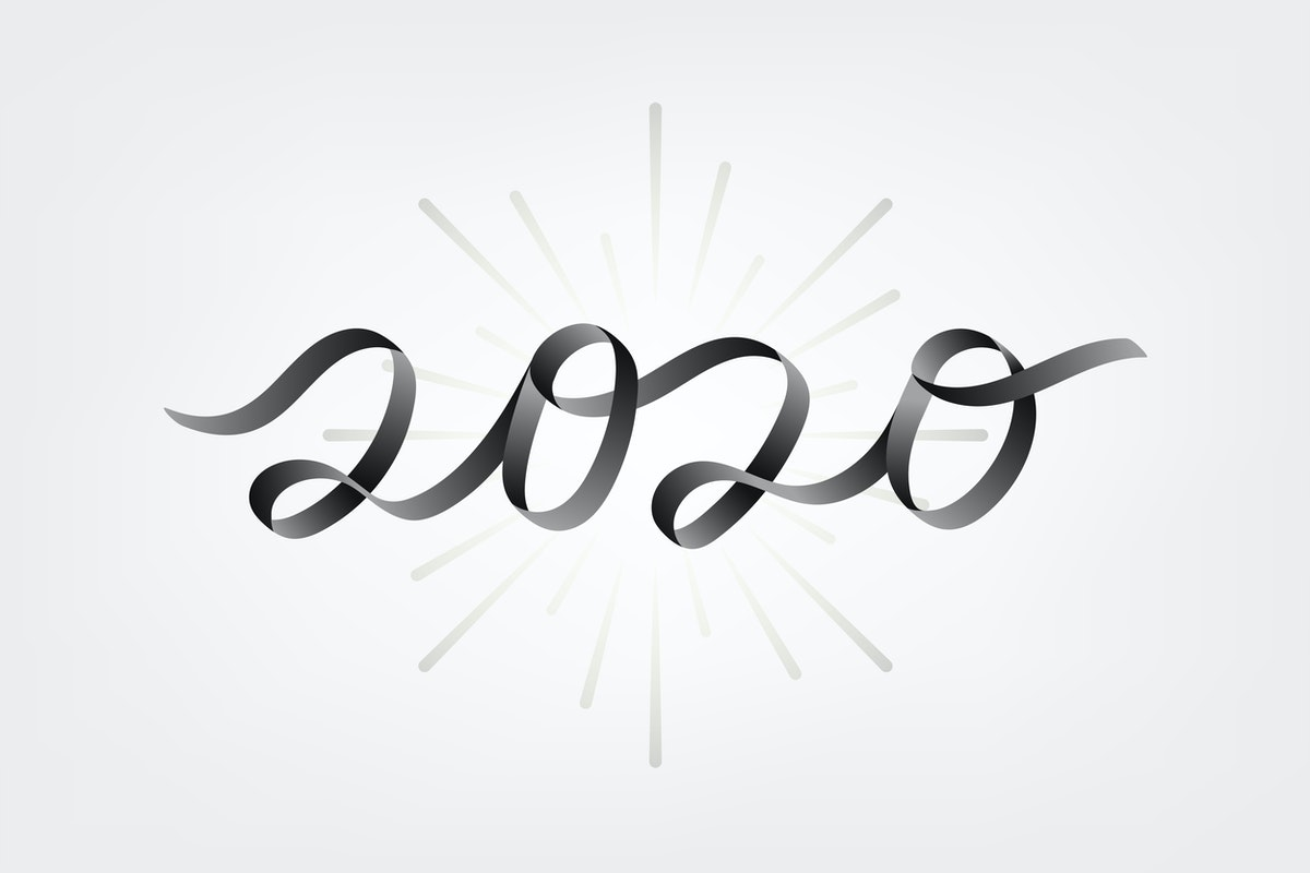 illustration. The number 2020 is spelled using a grey ribbon.