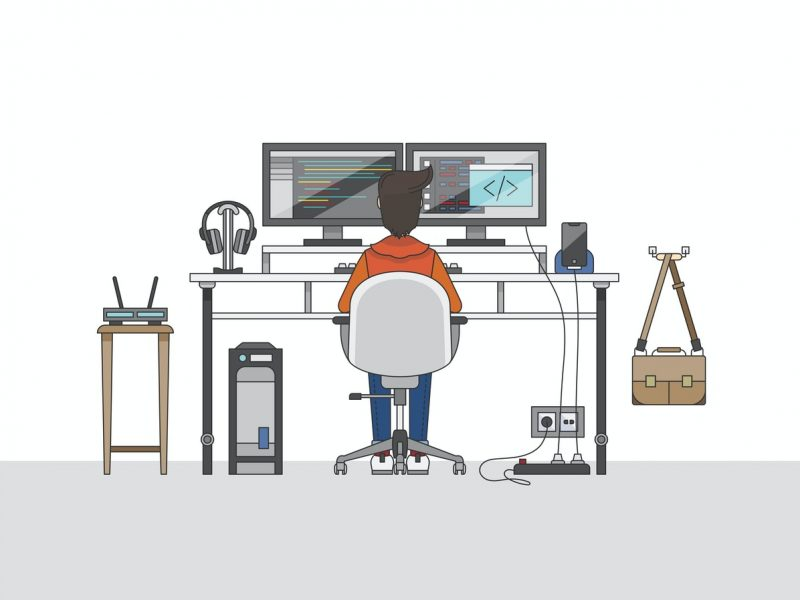 illustration of a person working from home. he is sitting in front of the computer with 2 screens side by side.