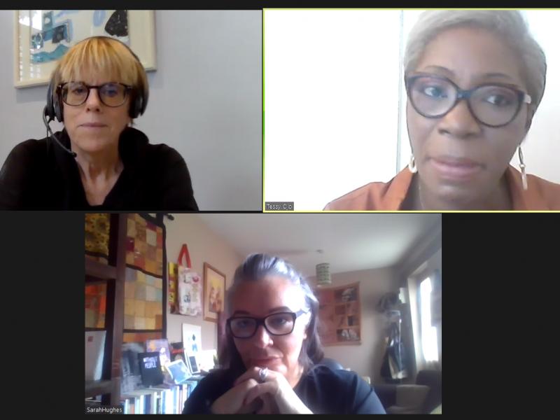 Polly Neate, Tessy Ojo and Sarah Hughes having a meeting using Zoom