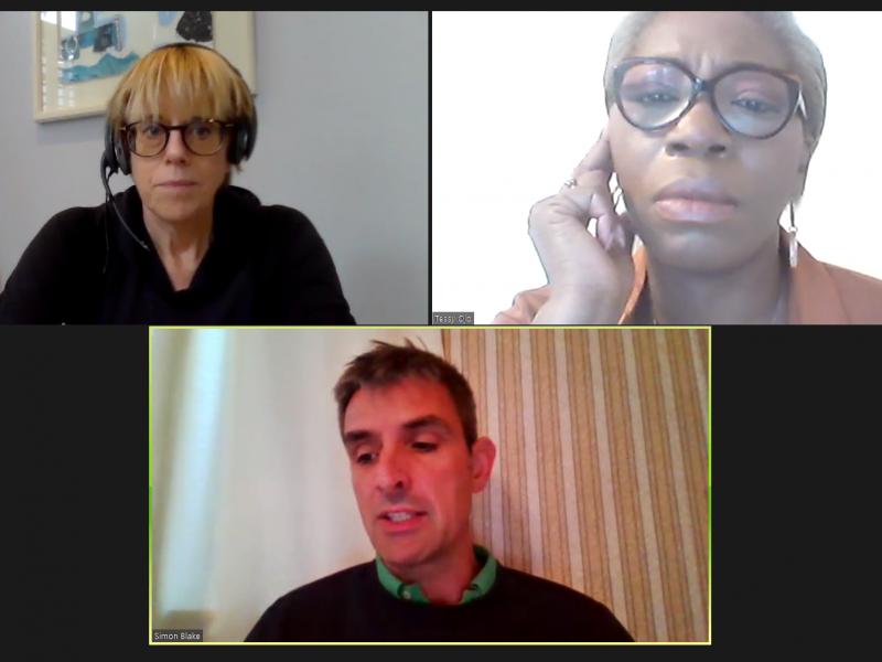 Polly Neate, Tessy Ojo and Simon Blake having a conversation using the platform Zoom