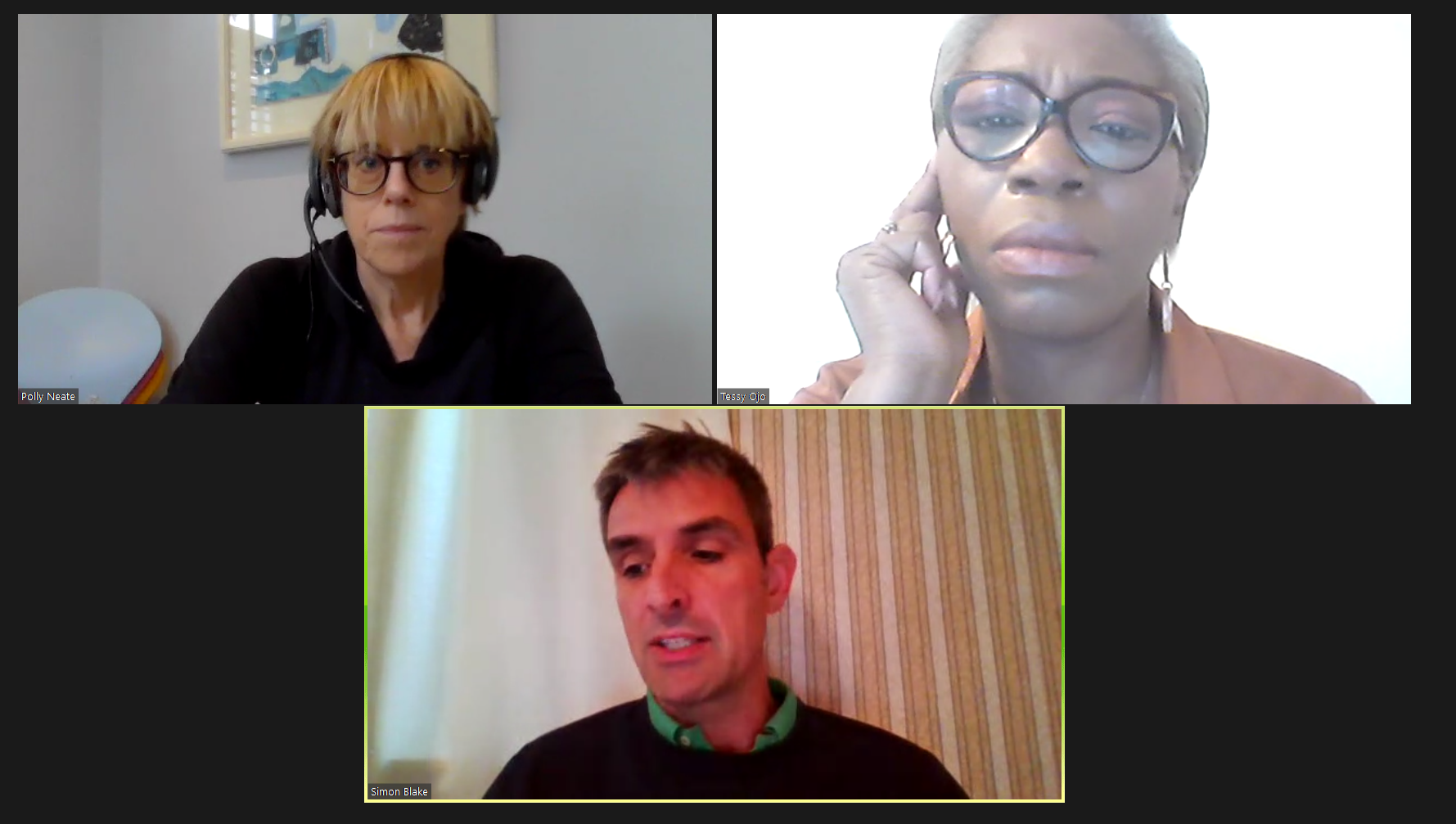 Polly Neate, Tessy Ojo and Simon Blake having a conversation using the platform Zoom