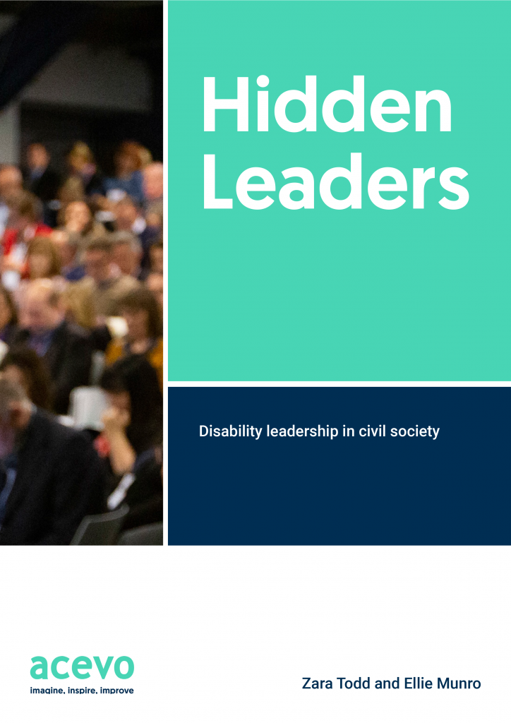 Front cover of the Hidden Leaders report, shows a blurry image of ACEVO members congregated at the annual conference