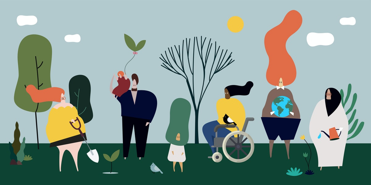 Diverse people in nature illustration