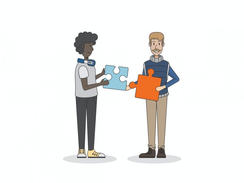 Illustration of two men holding one jigsaw puzzle piece each