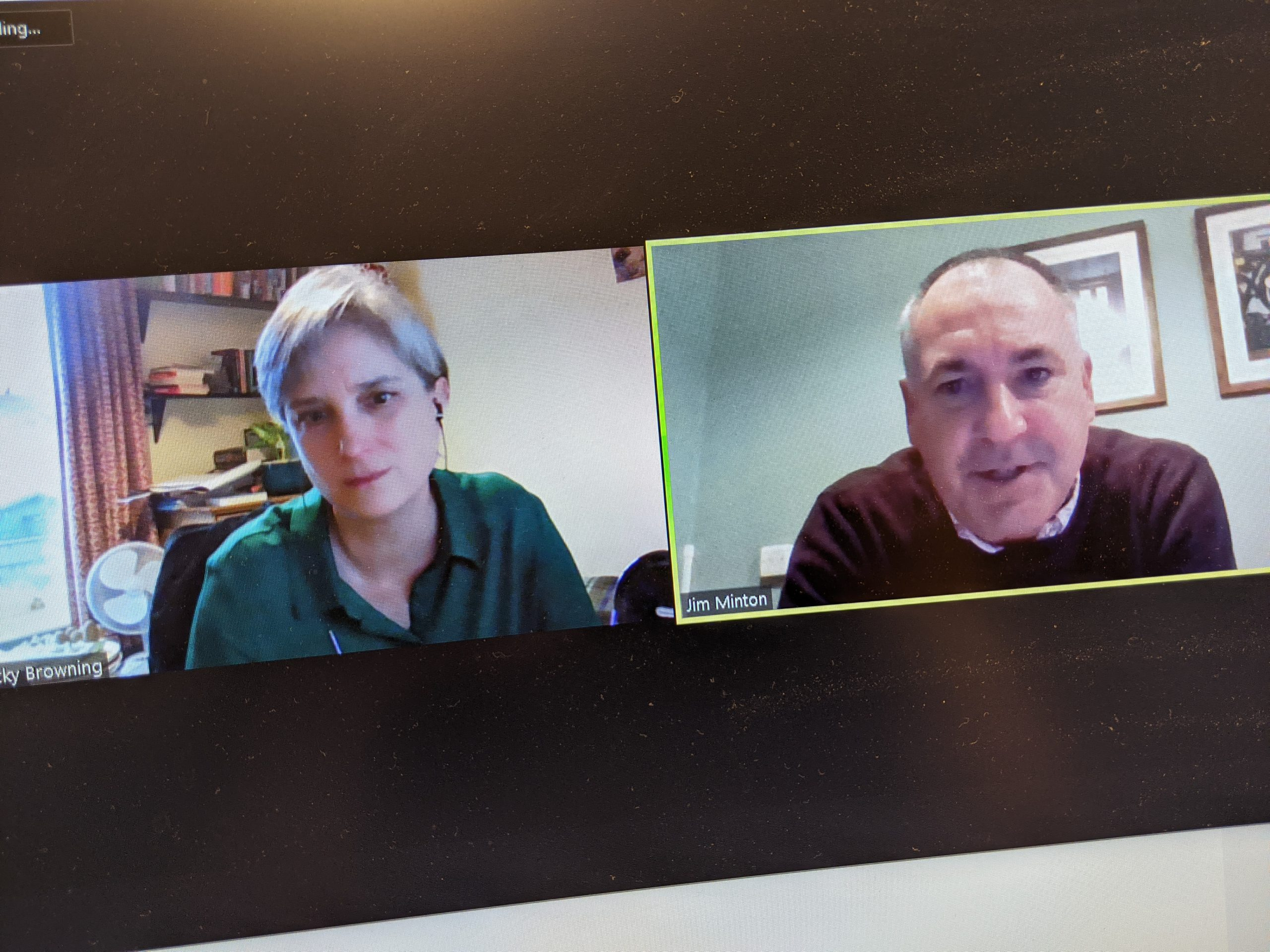 Screenshot of a Zoom call between Vicky Browning and Jim Minton