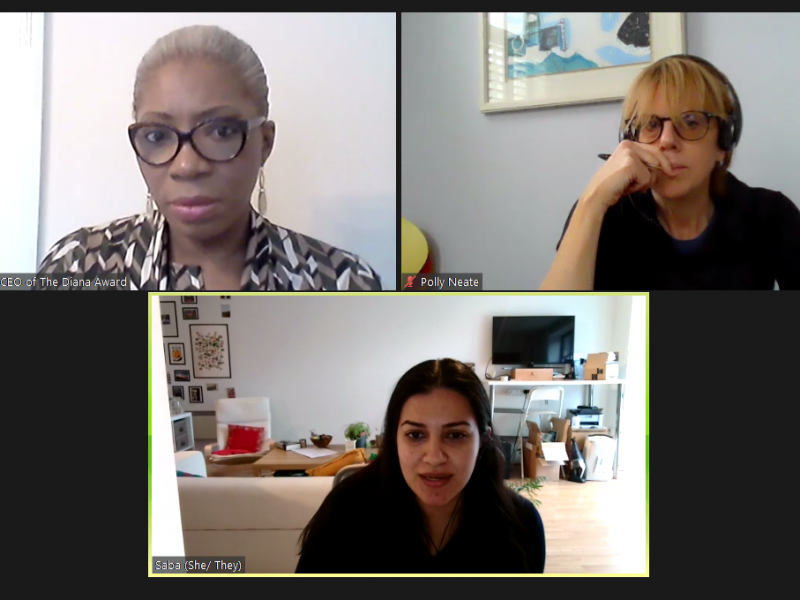 Screenshot of a conversation on Zoom with Polly Neate, Tessy Ojo and Saba Shafi