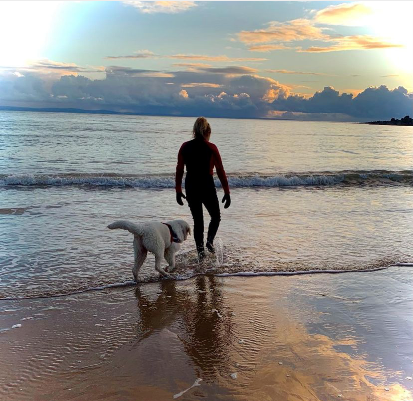 person wearing a wetsuit, going into the sea. It's sunrise and there is a dog near her. The sky is blue with a few clouds on the horizon. It's a calming image.