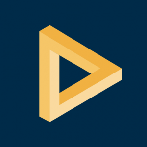 Applied logo - a yellow triangle tilted to the left over a dark blue background