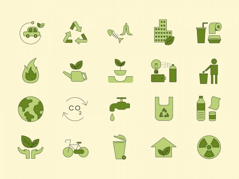 illustration with yellow background and 20 symbols of sustainability in green. 4 rows of 5 symbols.