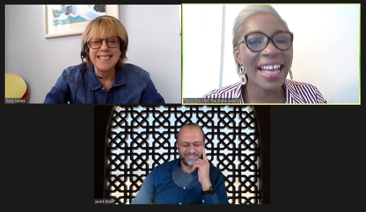 Screenshot of a Zoom conversation between Polly Neate, Tessy Ojo and Javed Khan