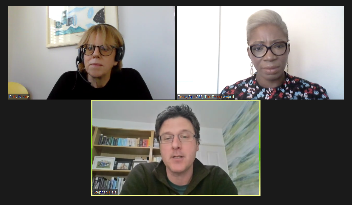 Screenshot of a Zoom conversation between Polly Neate, Tessy Ojo and Stephen Hale