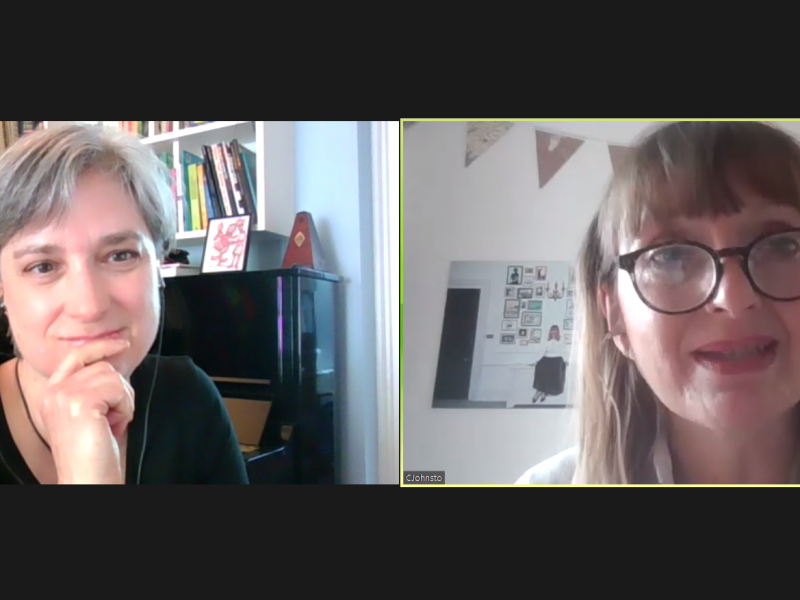 Screenshot of a Zoom conversation between Vicky Browning and Catherine Johnstone