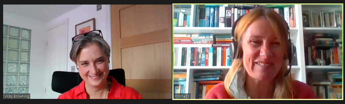 Screenshot of a Zoom call with Vicky Browning and Michelle Mitchell