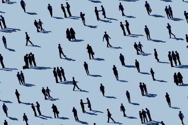 light blue background. dozens of people walking around or in small groups talking to each other, all illustrated in black,we can only see their profiles